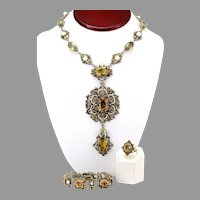Antique Austro-Hungarian Demi-Parure Necklace, Bracelet & Ring, Made of Silver, Citrine, Seed Pearl, Cultured Pearl