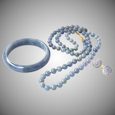 Rare GIA Certified Natural Blue Lavender Jadeite Jade Bangle, Bead Necklace, Earrings