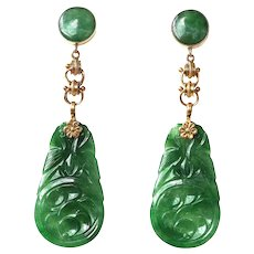 "GIA Certified Antique Natural Carved Jadeite Jade Earrings Drop Dangle 14K Gold, 2 ½"" Long"