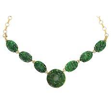 Natural Carved Qing Dynasty Jadeite Jade Necklace 14K Gold