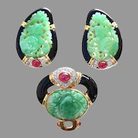 Vintage Set Natural Jade Ruby Onyx Diamond Earrings Pendant Brooch 18K, GIA Certified