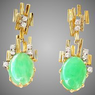 Modernist Natural Apple Green Jadeite Jade Diamond 18K Drop Dangle Earrings