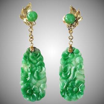 """Natural Carved Floral Jadeite Jade 14K Drop Dangle, 2-3/8"""" Long"""