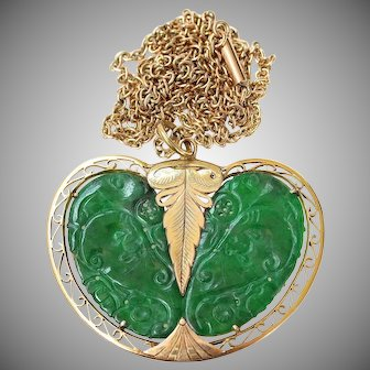 Antique Chinese Natural Carved Jadeite Jade Pendant Necklace 18K Rose-Gold