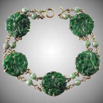 Antique Natural Carved Floral Jadeite Jade Plaques Bracelet 14K Gold