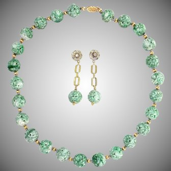 Art Deco & GIA Certified Natural Large Carved Jade Bead Necklace and Diamond Earring Set