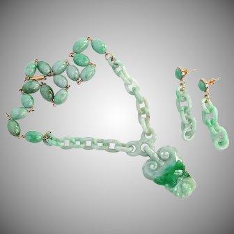 GIA Certified Natural Jadeite Jade Set of Earrings & Necklace Pendant Integrally Carved Interlocking Rings Links 14K Gold