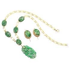 Art Deco Natural Jadeite Jade L. Fritzsche & Co. Necklace & Earrings 14K Gold