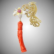 Vintage Guanyin Coral & Ruby Diamond Pendant Brooch in 14K Rope Chain