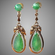 Vintage 14K Gold Natural Translucent Apple Green Jadeite Jade Drop Dangle Earrings