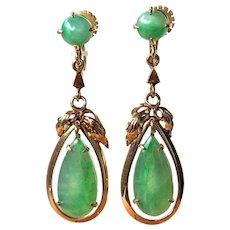 Vintage 14K Gold Natural Translucent Apple Green Jadeite Jade Drop Dangle Earrings