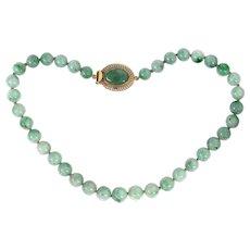 Vintage 14K Gold Natural Jadeite Jade Bead Necklace