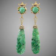 "Art Deco Natural Jadeite Jade Carved Drop Dangle Earrings 14K Gold, 2-3/4"" Long"