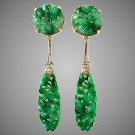 Art Deco Carved Floral Jadeite Jade 14K Gold Drop Dangle Earrings