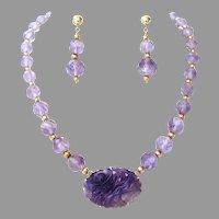 Art Deco Walter Lampl Carved Amethyst 14K Pendant Brooch & Bead Necklace & Earrings