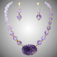 Art Deco Walter Lampl Carved Amethyst 14K Pendant Brooch & Bead Necklace & Earrings