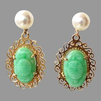Antique Natural Apple Green Jadeite Jade Dangle Earrings 14K Gold