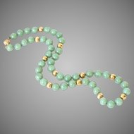 Vintage Natural Jadeite Jade Bead Necklace & 14K Gold