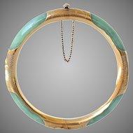 Vintage Natural Jadeite Jade 14K Gold Engraved Bangle