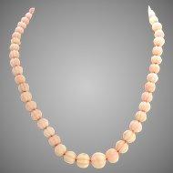 Vintage 18K Gold Carved Melon Angel Skin Coral Necklace