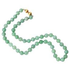 Vintage Natural Translucent Jadeite Jade Bead & Gold Necklace