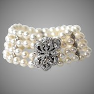 Vintage Diamond Cultured Pearl Multi-Strand 14K White Gold Bracelet
