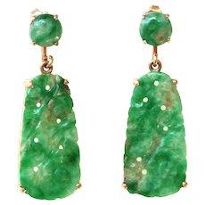 Art Deco Natural Carved Jadeite Jade Drop Dangle Earrings 14K Gold