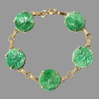 Natural Type A Jadeite Jade BowKnot 14K Gold Filled thin chain bracelet Ready to shipstyle1387