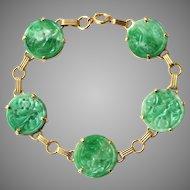 Art Deco Natural Carved Jadeite Jade Qing Dynasty Bracelet 14K Gold