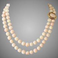Vintage 18K Gold Double Strand Large Blush Angel Skin Coral Bead Necklace,  171 Grams