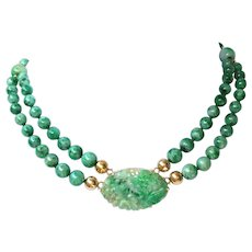 Natural Jadeite Jade Bead Necklace Walter Lampl Pendant Brooch 14K Gold