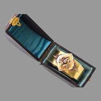 Antique French Victorian Diamond 18K Bi-Color Gold Wide Bangle Bracelet, Fitted Case