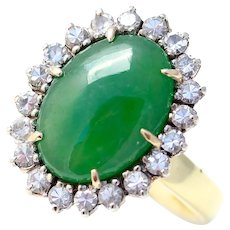 Vintage La Triomphe GIA Certified Natural Jadeite Jade Diamond 18K Gold Ring