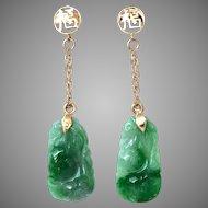 Vintage Natural Carved Jadeite Jade Drop 14K Gold Earrings