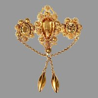 Antique Victorian 18K Gold Cannetille Citrine Swag Brooch (Convertible Pendant)
