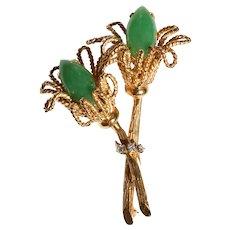 "GIA Certified Vintage Natural Cabochon Jadeite Jade & Diamond 14K Gold Flower Brooch, 2-1/2"""