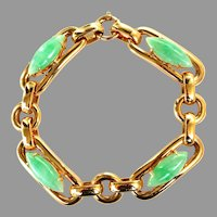 GIA Certified Unisex 14K Heavy Solid Gold Large Link Natural Jadeite Jade Bracelet, 60 grams