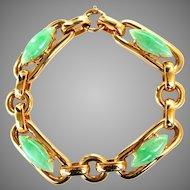 Vintage Unisex 14K Heavy Solid Gold Large Link Natural Jadeite Jade Bracelet, 60 grams