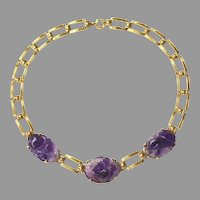 Art Deco 14K Gold Link and Carved Amethyst Necklace by L. Fritzsche & Co.