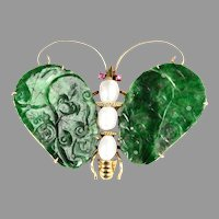 Vintage 14K Gold Butterfly Brooch Pendant with Antique Natural Jadeite Jade Plaques Rubies Pearls