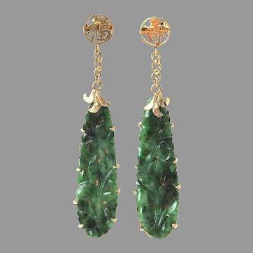 "Art Deco Natural Jadeite Jade 14K Gold Drop Dangle Earrings, 2-1/8"" Long"