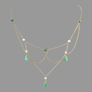 Antique Jade and Pearl Festoon 14K Gold Necklace