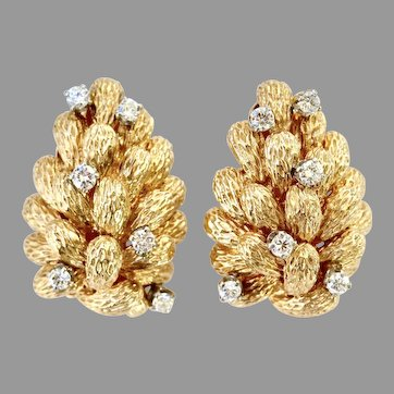 Vintage Bark-Textured Large and Heavy Earrings in 14K Gold & Diamond