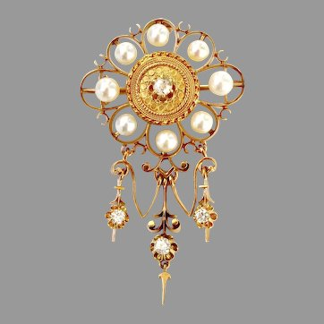 Vintage 18K Gold Etruscan Revival Pendant Brooch with Diamonds Pearls