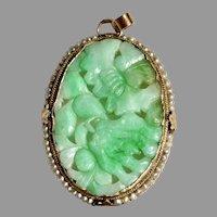 Antique Natural Apple Green Jadeite Jade 14K Gold Seed Pearl Pendant