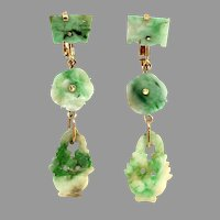 "Antique Chinese 14K Gold Natural Jadeite Jade Multi-Drop Dangle Earrings, 2-1/4"" L"