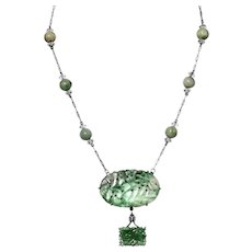 Art Deco Chinese Natural Jadeite Jade 14K White Gold & Silver Pendant Necklace Foo Dog