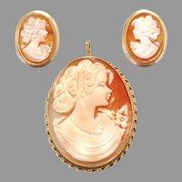 Vintage 14K Gold Italian Torre Del Greco Shell Cameo Set Pendant Brooch Earrings