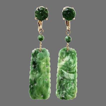 Antique Jadeite Jade 14K Gold Drop Dangle Earrings