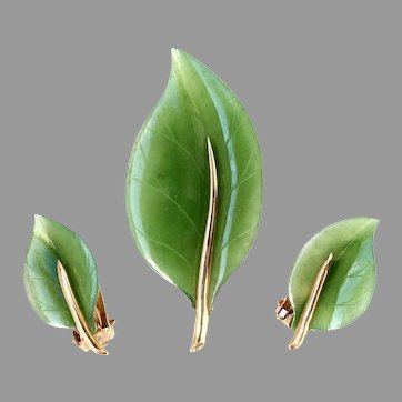 GUMPS Set of 14K Gold Natural Jade Brooch and Earrings